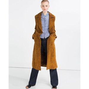Zara Real Suede Trench Coat